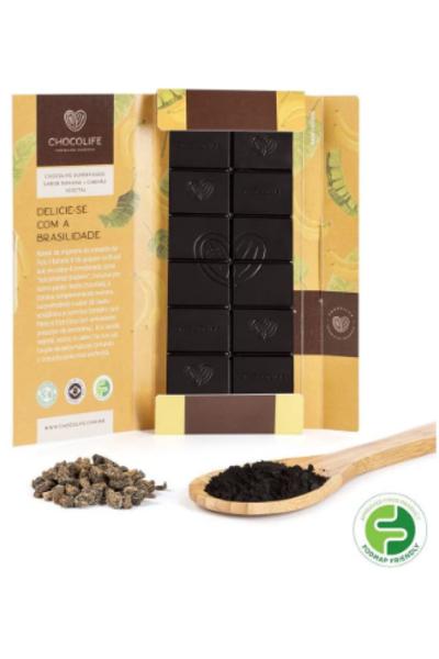 Chocolate 67% cacau - banana e carvão ativado Superfoods Chocolife - 80g