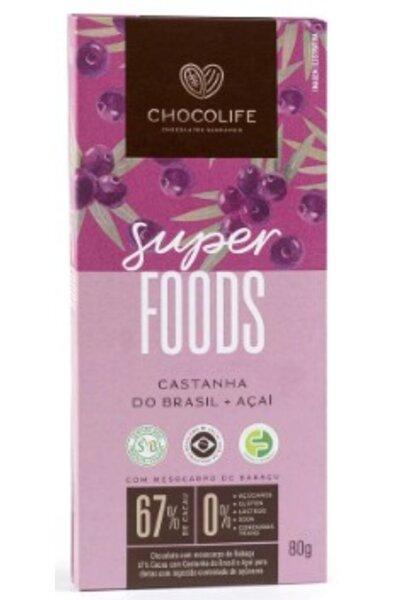 Chocolate 67% cacau - castanha do brasil e açai Superfoods Chocolife - 80g
