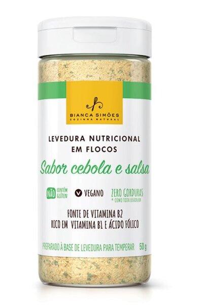 Levedura nutricional em flocos sabor cebola & salsa - bianca simoes - 50g