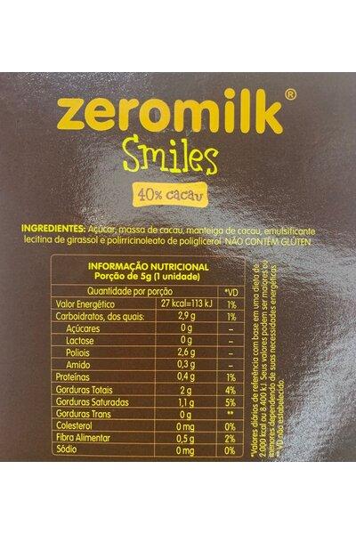 Chocolate zeromilk smiles - 5 unidades - 40% cacau