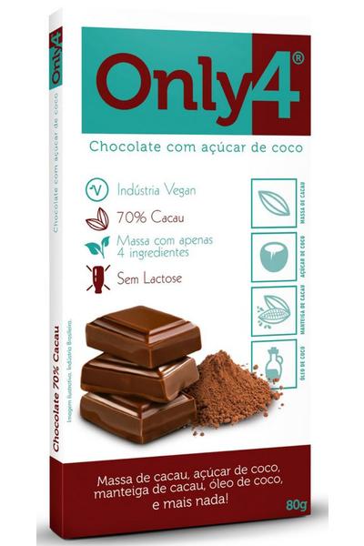Chocolate 70% cacau only4 puro - 80g