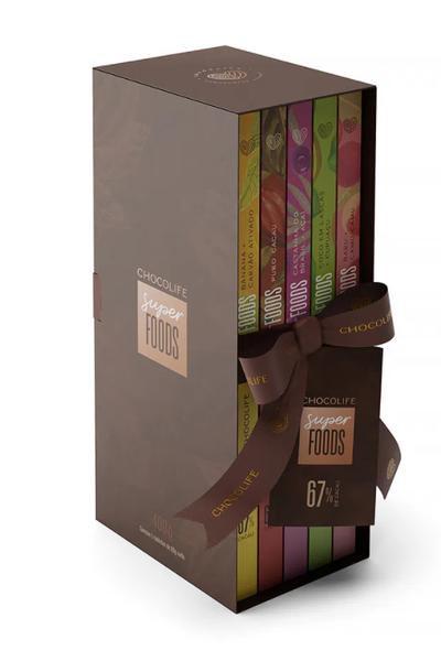 Biblioteca de chocolate chocolife superfoods 67% cacau - 5 sabores - 400g