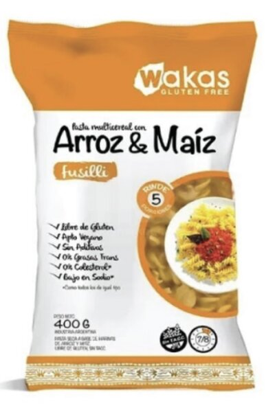 Macarrão fusilli arroz e milho wakas - 400g