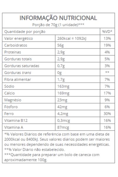 Mistura p/ bolo caneca brigadeiro - vitalin - 70g
