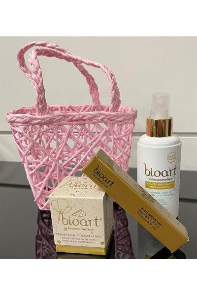 Kit cesta amor bioart (creme facial bioresveratrol, gloss nude e solução higienizante)