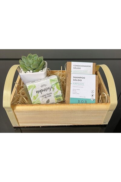 Kit cesta bob e napureza 1 (shampoo purificante, condicionador hidratação suave, sabonete capim limã
