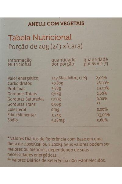 Macarrão anelli com vegetais tricolor - quinoa real e amaranto - reserva mundi - 300g