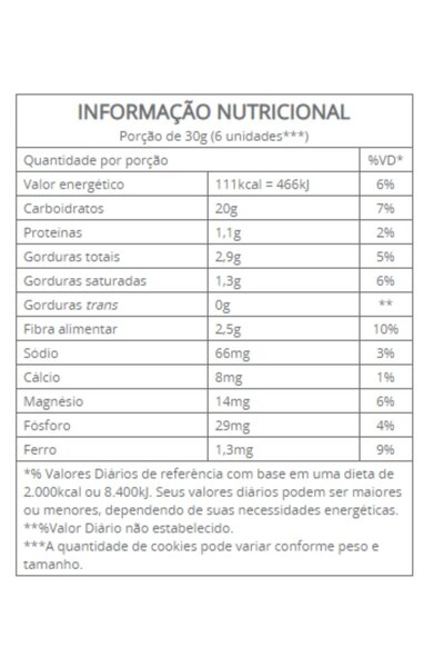 Cookies amaranto com cacau Vitalin - 30g