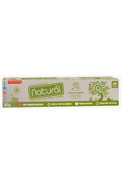 Creme dental orgânico natural c/ extrato de uva, camomila e melissa - 80g