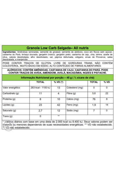 Granola salgada Low Carb Veganutris - 230g