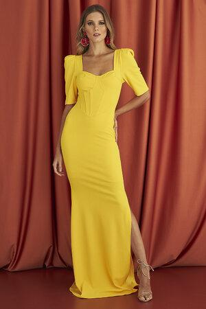 Vestido Longo Com Corset e Fenda Amarelo