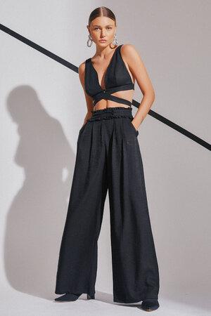 Conjunto Top e Calça Pantalona Transpasse