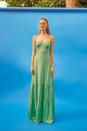 Vestido Longo Com Alças Decote Princesa E Barra Com Dois Babados