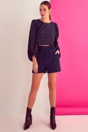 Shorts Luisa com Recortes e Elático na Cintura