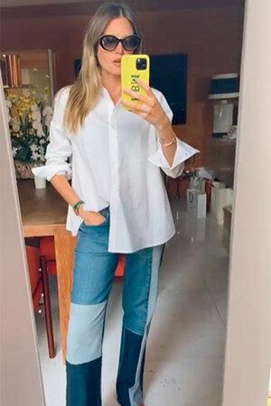 Conjunto Helana Camisa Manga Longa Evasê e Calça Jeans Flare Patchwork