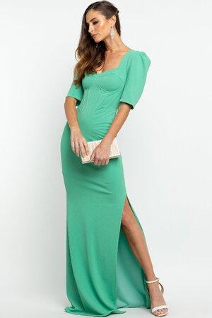 Vestido Longo Com Corset e Fenda Verde