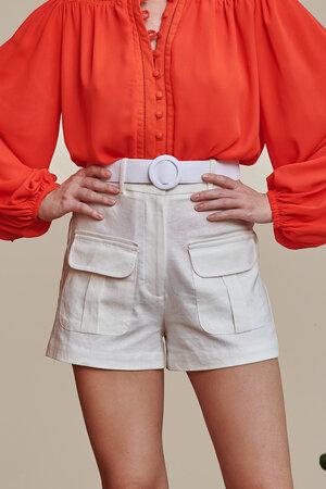 Shorts de Linho com Bolsos Frontais