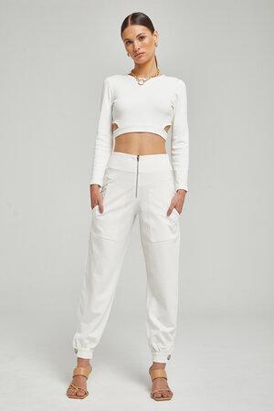 Conjunto Blusa de Malha com Recorte e Calça de Malha Jogger