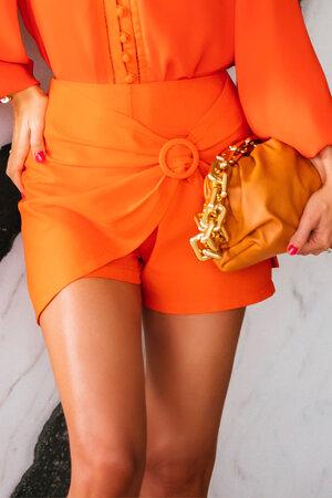 Shorts Saia de Linho com Fivela