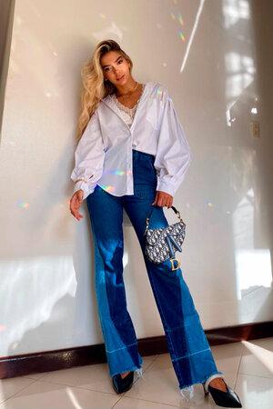 Conjunto Jordana Camisa Oversize e Calça Jeans Flare