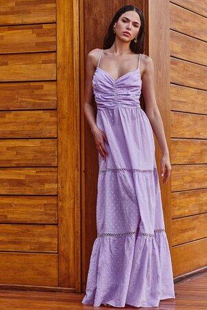 Vestido Natural com Textura de Poá Detalhe no Busto