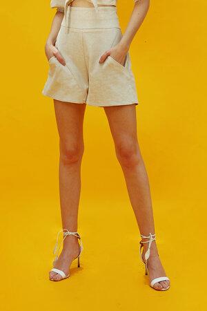 Shorts de Linho com Bolso Frontal