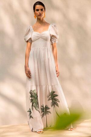 Vestido Longo Decote Princesa com Estampa Localizada