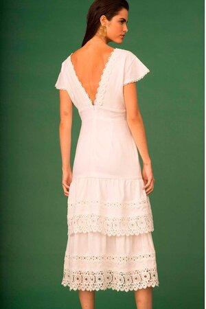 Vestido Midi de Linho com Bordados e Guipure