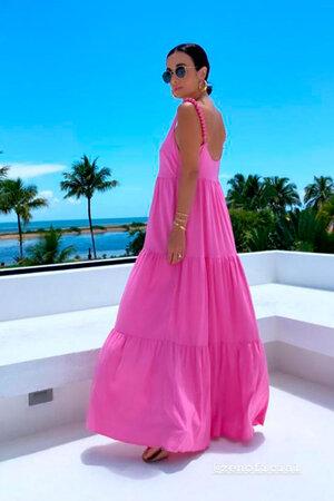 Vestido Silvia Braz Natural 3 Babados com Ponteira nas Alças