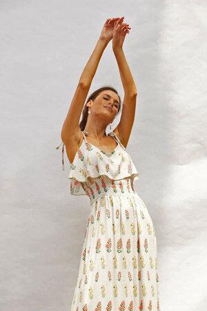Vestido Estampa Flores De Alças Fina Pra Amarrar Com Babado E Lastex Cintura