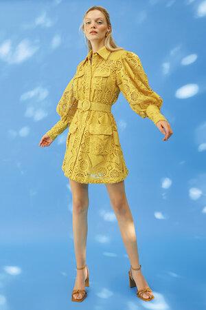 Vestido Mini Bordado Com Cinto