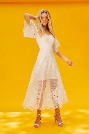 Vestido Mangas Largas Bordado - Branco