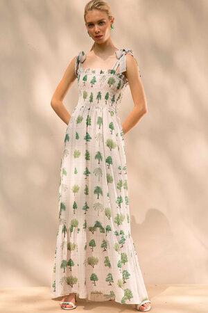 Vestido Longo com Lastex Busto e Alças Largas para Amarração