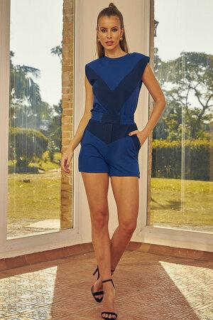 Shorts com Recortes Dual Azul