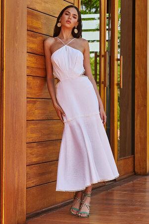 Vestido de Linho com Abertura No Decote e Laterais