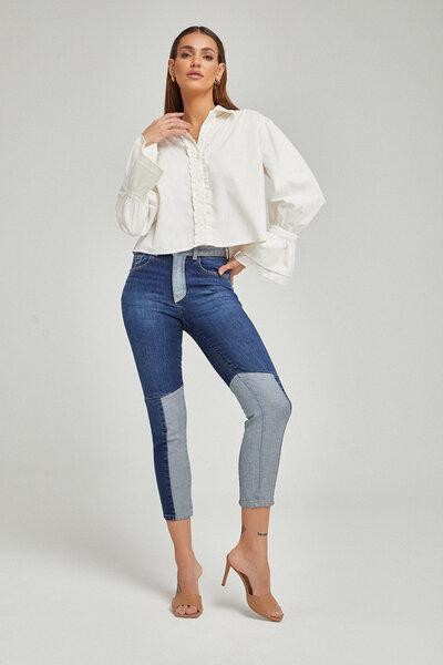 Calça Jeans Patchwork Cós e Interno Perna
