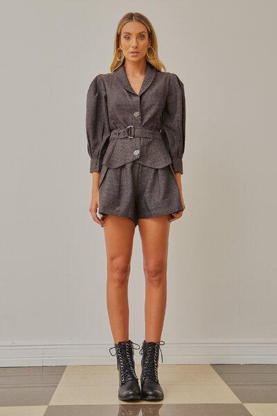 Shorts Apha Tweed com Pregas e Bolsos