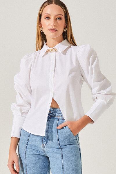 Camisa de Tricoline com Manga Bufante