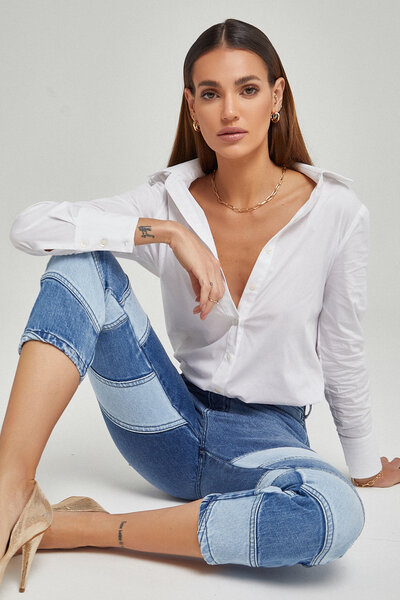 Calça Jeans Patchwork Três Lavagens