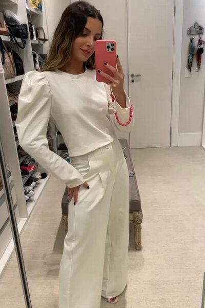 Conjunto Blusa de Malha com Pregas e Pantalona