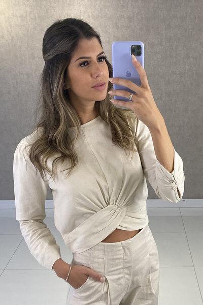 Blusa Tania Linho com Drapeado no Cós e Punho