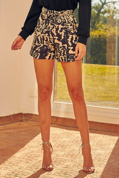 Shorts Stay Home Moletinho Animal Print