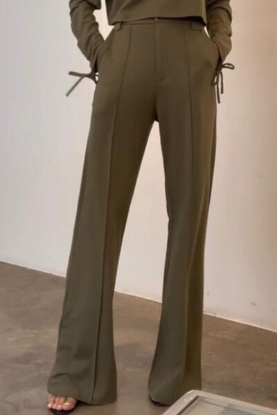 Calça Silvia Braz Pantalona Com Frisos