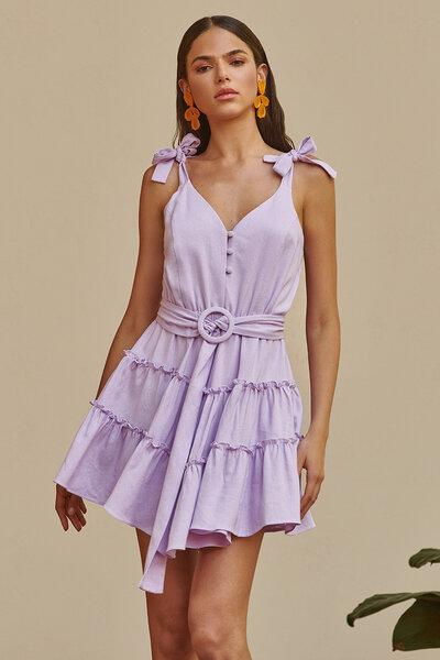 Vestido de Linho Curto 3 Babados Alças Para Amarrar e Cinto