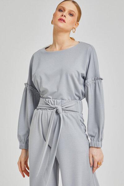 Blusa malha detalhe manga elastico punho