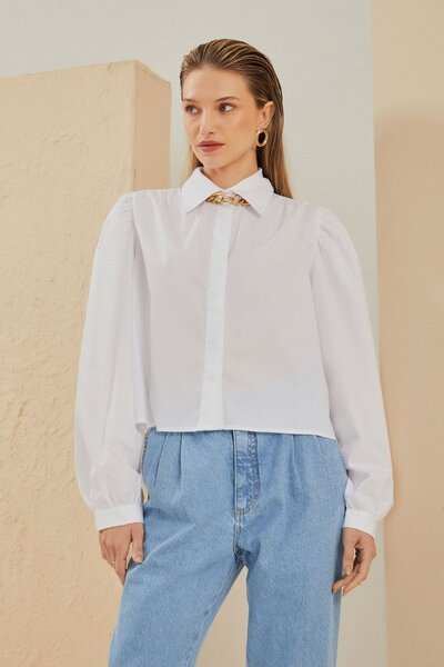 Camisa Curta em Tricoline com Manga Bufante