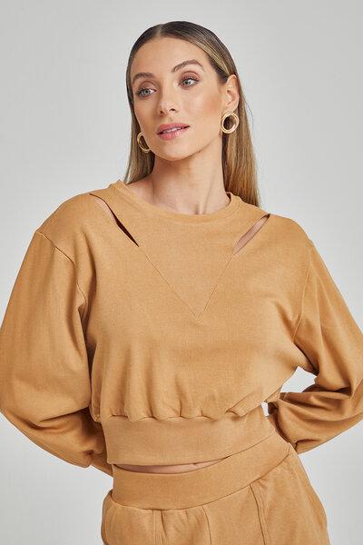 Blusa de moleton com recortes nos ombros