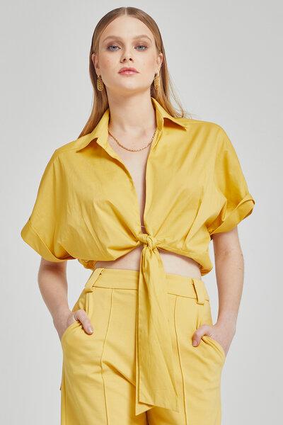 Blusa cachequer ombro caido com amarração na cintura