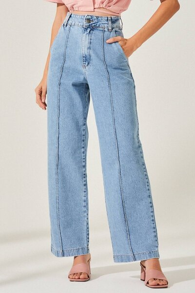 Calça Jeans Reta com Friso Pré Venda