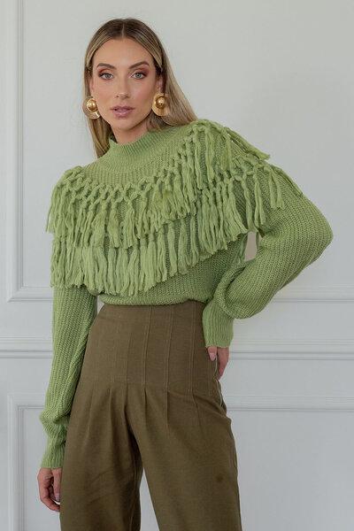 Blusa Tricot Franjas Decote
